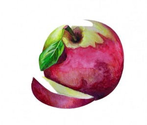 Apple in watercolor